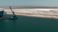 Egypt the Suez Canal 050 suction excavator ship cleans the fairway Stock Footage