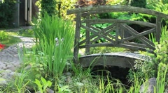 Garden Landscape with bridge Stock Footage