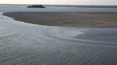 high tide water at Mont Saint Michel, France - stock footage