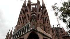 Sagrada Familia  catherdral in Barcelona  at overcast day after rain. Stock Footage