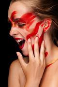 fashion art paint make up on beautiful girl - stock photo
