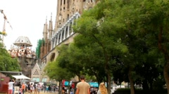 Sagrada Familia catherdral in Barcelona at overcast day after rain Stock Footage