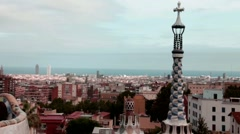 Barcelona Cityscape with Sagrada Familia during dusk  - view from Guell park Stock Footage
