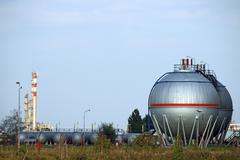 oil tanks and petrochemical plant - stock photo