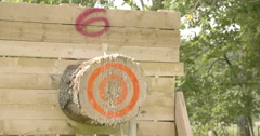 An axe throwing contest happening Stock Footage