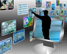 multimedia stream - stock illustration