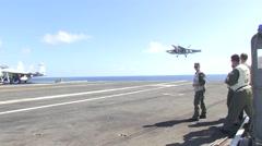F-18 Hornet aircraft carrier landing USS Ronald Reagan Stock Footage