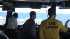 Air Boss directing operations on the aircraft carrier USS Ronald Reagan Stock Footage