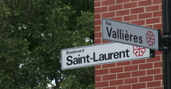 Street signs in Montreal - stock footage