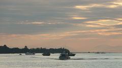 Gillnet Boats, Fraser River Dusk Stock Footage