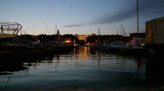 Marseille Vieux Port at night Stock Footage