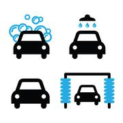 Car wash icons black and blue set - vector Piirros
