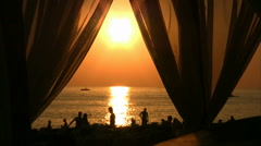 Sunset beach scene at Alanya Antalya Turkey Stock Footage