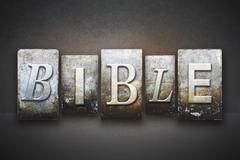 bible letterpress - stock illustration