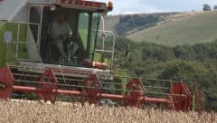 Combine Harvester Cutting Organic Wheat Stock Footage
