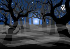 Stock Illustration of dark ghostly forest and full moon