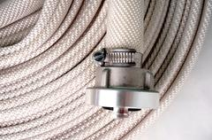water hose  fire hose with couplings - stock photo
