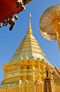 wat phra that doi suthep tourism attractions of thailand - stock photo