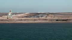 Egypt the Suez Canal 055 east shore ( Sinai side ) and desert near Port Said - stock footage
