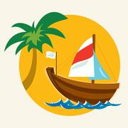 Summer Exotic Holiday in a Wooden Boat - stock illustration