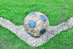 Soccer football field stadium grass line and ball background Stock Photos