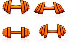 Set of strength training weights. Stock Illustration