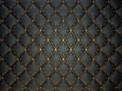 Black leather pattern with golden wire and gems Stock Photos