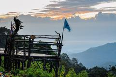 Podium for natural view on viewpoint doi ang khang mountains Stock Photos