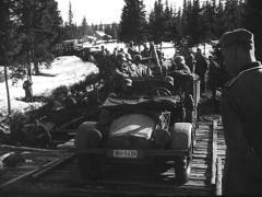 WW2 German Infantery Passing Bridge Stock Footage