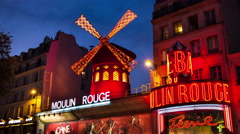 Moulin Rouge, Paris France Timelapse 4K Stock Video Footage Stock Footage