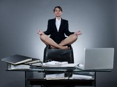 Business woman levitation Stock Photos