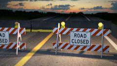 Flashing Yellow Lights the Road is Closed Stock Footage