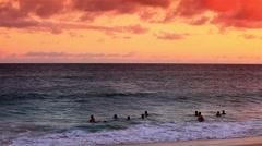 Sunset at Sandy Beach on Oahu, Hawaii, USA. Stock Footage