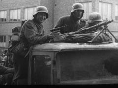 1940-German Soldiers On Truck In Norway Stock Footage