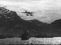 WW2 German Plane Arado 196 - Landing Approach On Water Stock Footage