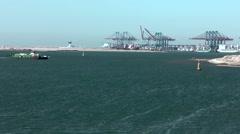 Egypt the Suez Canal 060 Tafreea Ferry cross the canal near Port Said Stock Footage