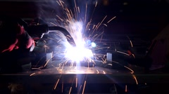 Welding slow motion with sound working Stock Footage