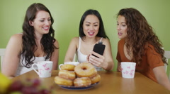 Female friends having coffee pose to take a picture with mobile phone - stock footage