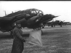 WW2 German Plane Heinkel 111 On Airfiled Stock Footage