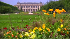 The Paris Natural History Museum in a vast chateau with flowers and gardens Stock Footage