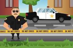 Policeman and patrol car Stock Illustration