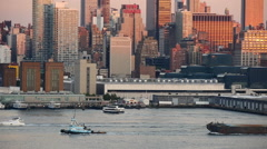 Tug Boat And Barge NYC Stock Footage