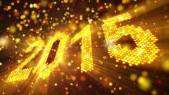 greeting new year 2015 of shining yellow elements loop - stock footage