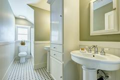 Bathroom interior with siding wall trim Stock Photos