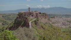 Wide static shot of Civita di Bagnoregio Italy Stock Footage