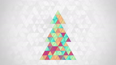 Christmas tree shape of colorful triangles loop Stock Footage