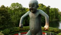 Grumpy Boy Sinnataggen Vigeland Sculpture Park Oslo Motorized Slider Shot Stock Footage