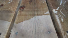 Rain wood floor slowmo Stock Footage