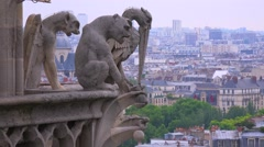 Gargoyles watch over Paris, France from Notre Dame cathedral. - stock footage