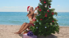 Christmas tropical beach vacations Stock Footage